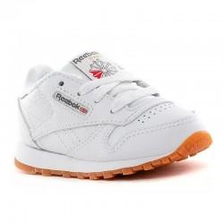 Zapatos de cuero Reebok clásico para niños, blanco