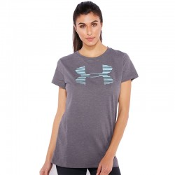 Blusa Under Armour Dama Big Gris Logo celeste
